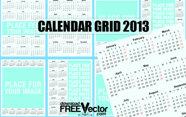 Calendar Grid Template Vector