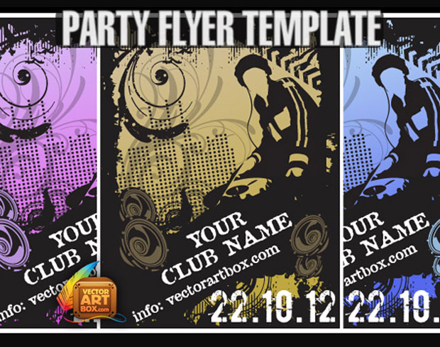 Club Party Flyer Template Vector