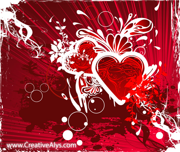 Red Grungy Heart Background Vector
