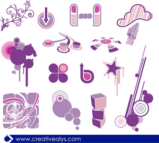 Purple Design Elements Vector