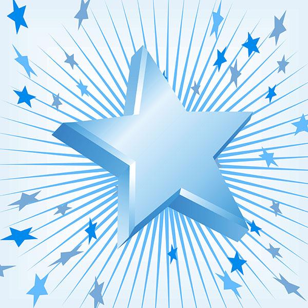 3D blue stars